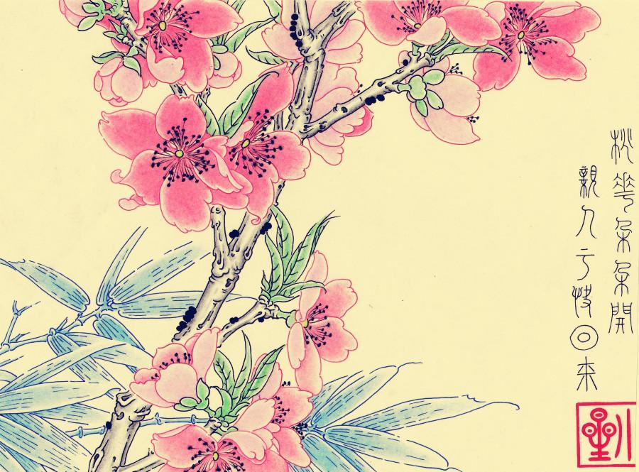彩铅手绘桃花图片大全