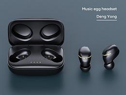 一组蓝牙耳机产品渲染
