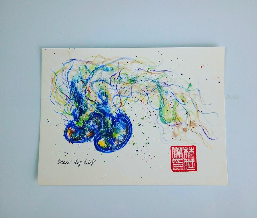 手绘明信片|水彩|纯艺术|闲看花落