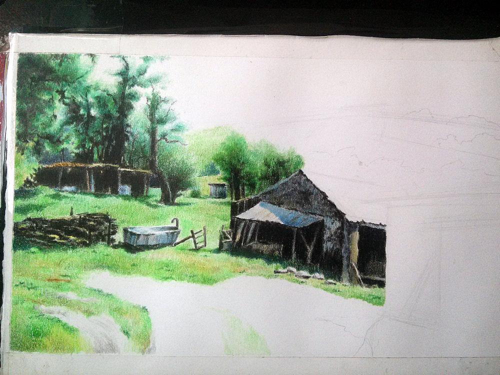 房子手绘彩铅图