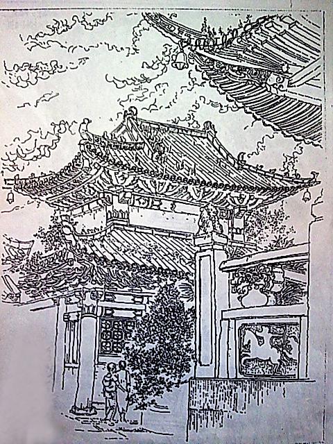 钢笔线描 中国古代建筑