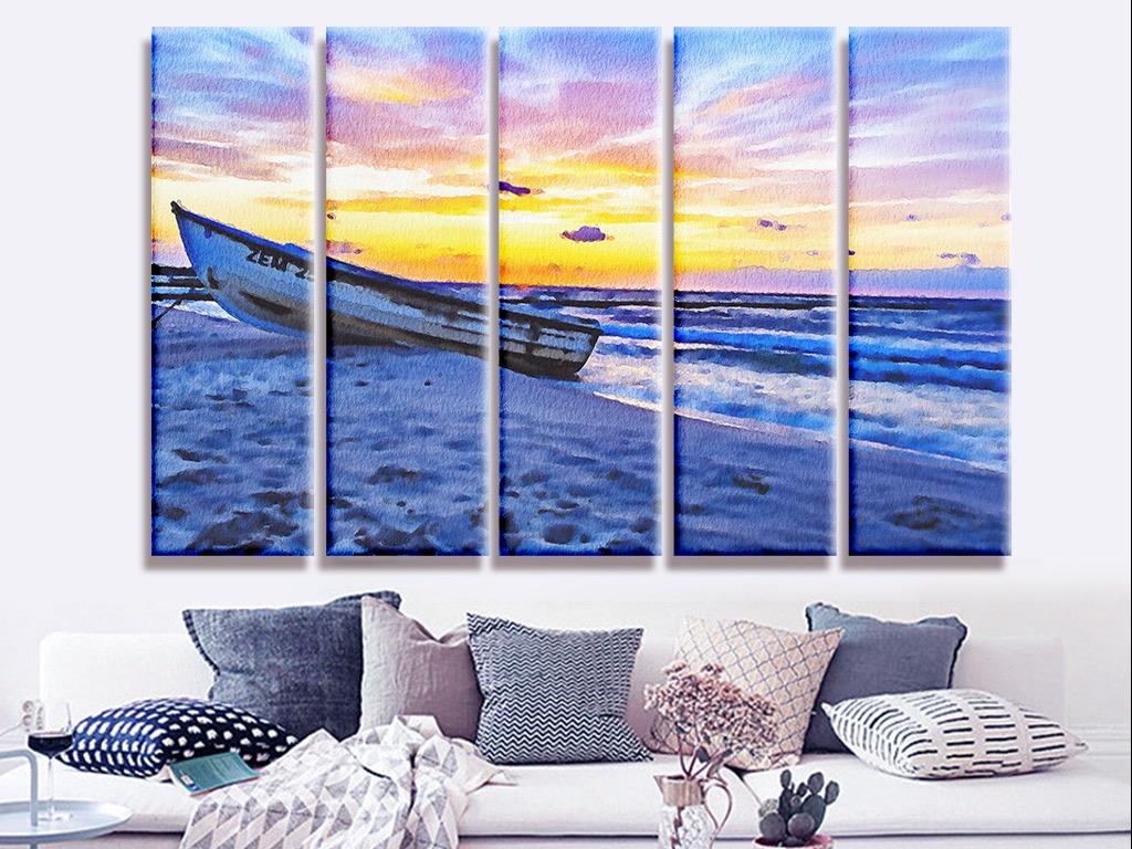 水彩风景画海边渔船油画复古风景画客厅装饰画