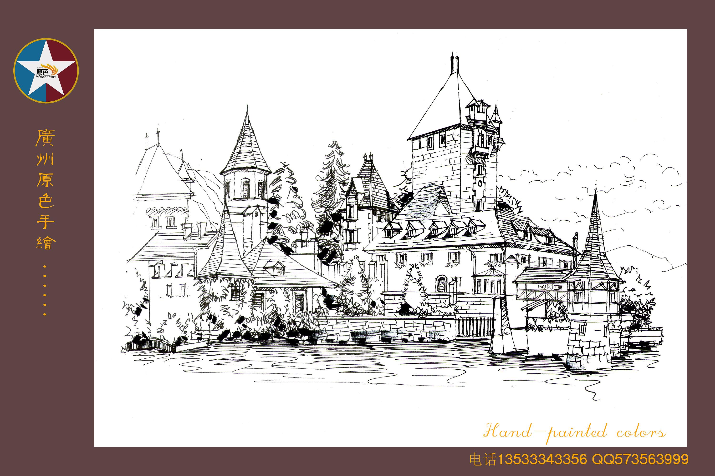 广州原色手绘建筑学生作品
