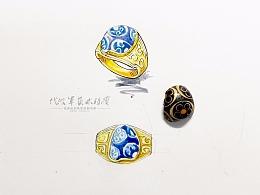 古董珠子碎片镶嵌成戒指也有一翻味道