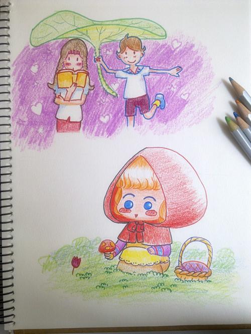 彩铅手绘练习|动漫|单幅漫画|大爱v仔 - 原创作品