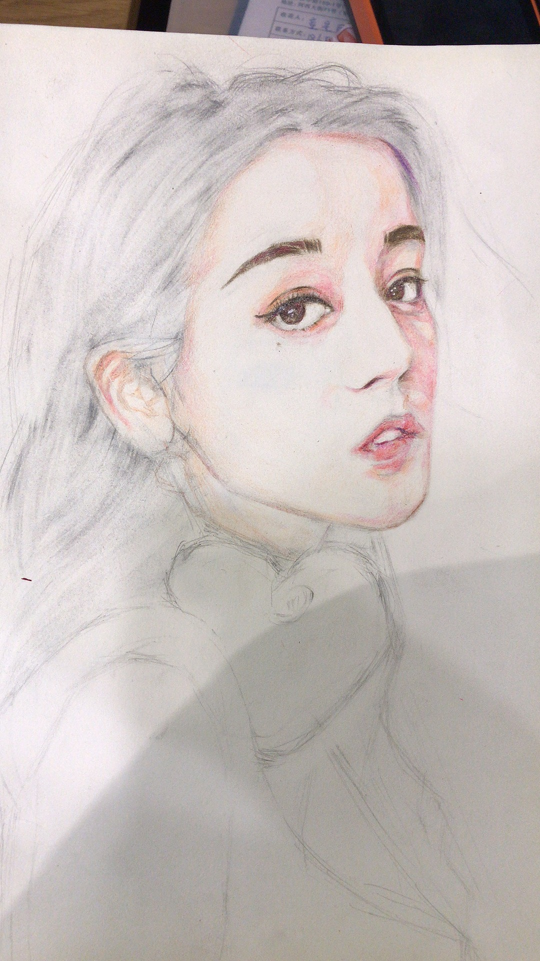 迪丽热巴彩铅手绘.