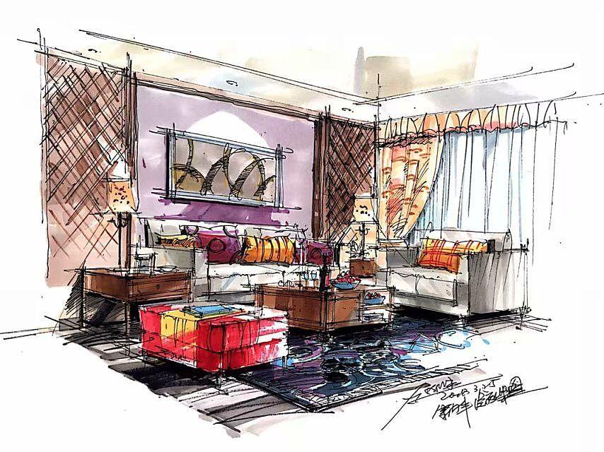 室内设计手绘快速表现及马克笔上色