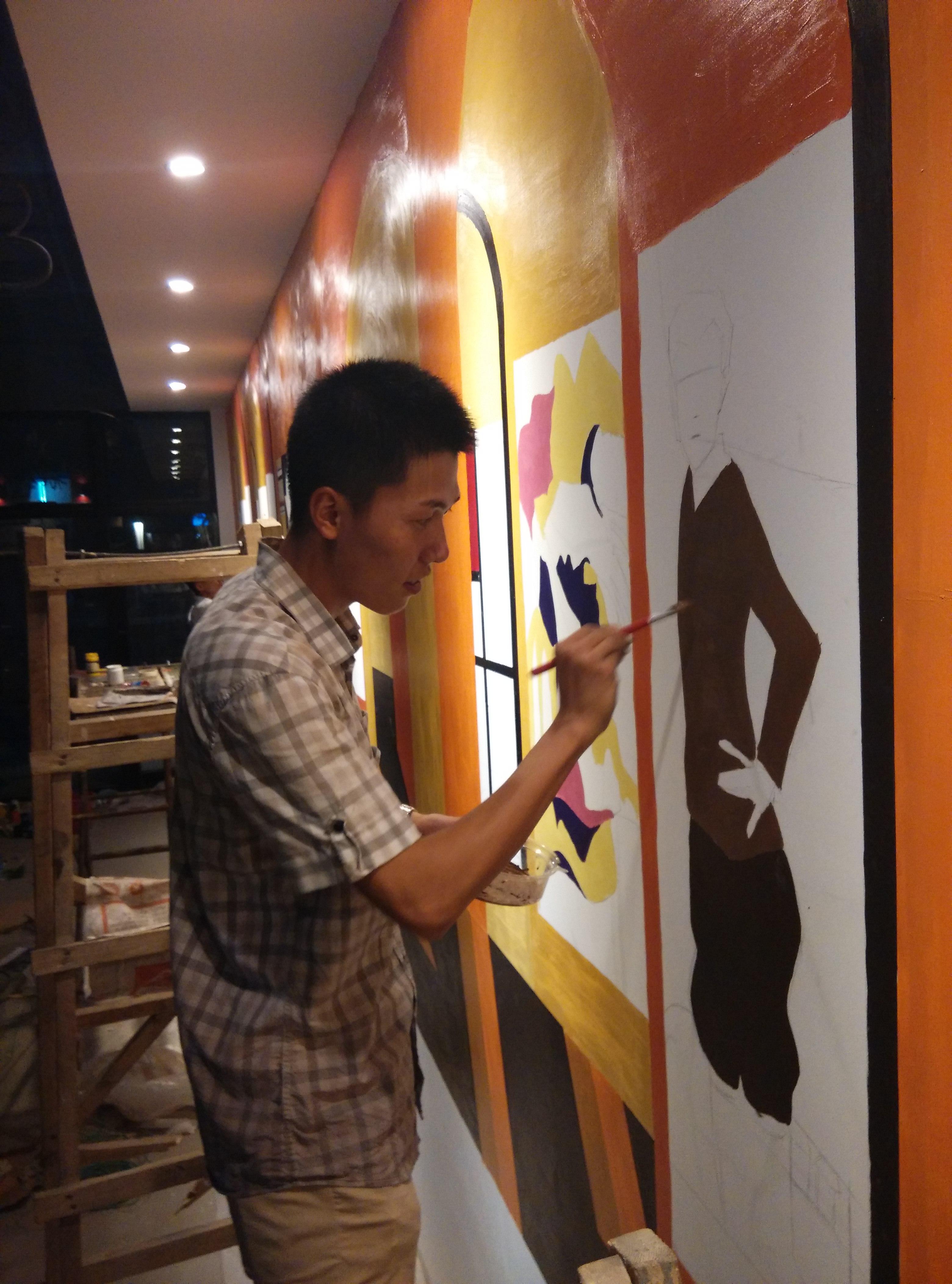 天津时代奥城咖啡厅墙体绘画|其他|墙绘/立体画|lc图片