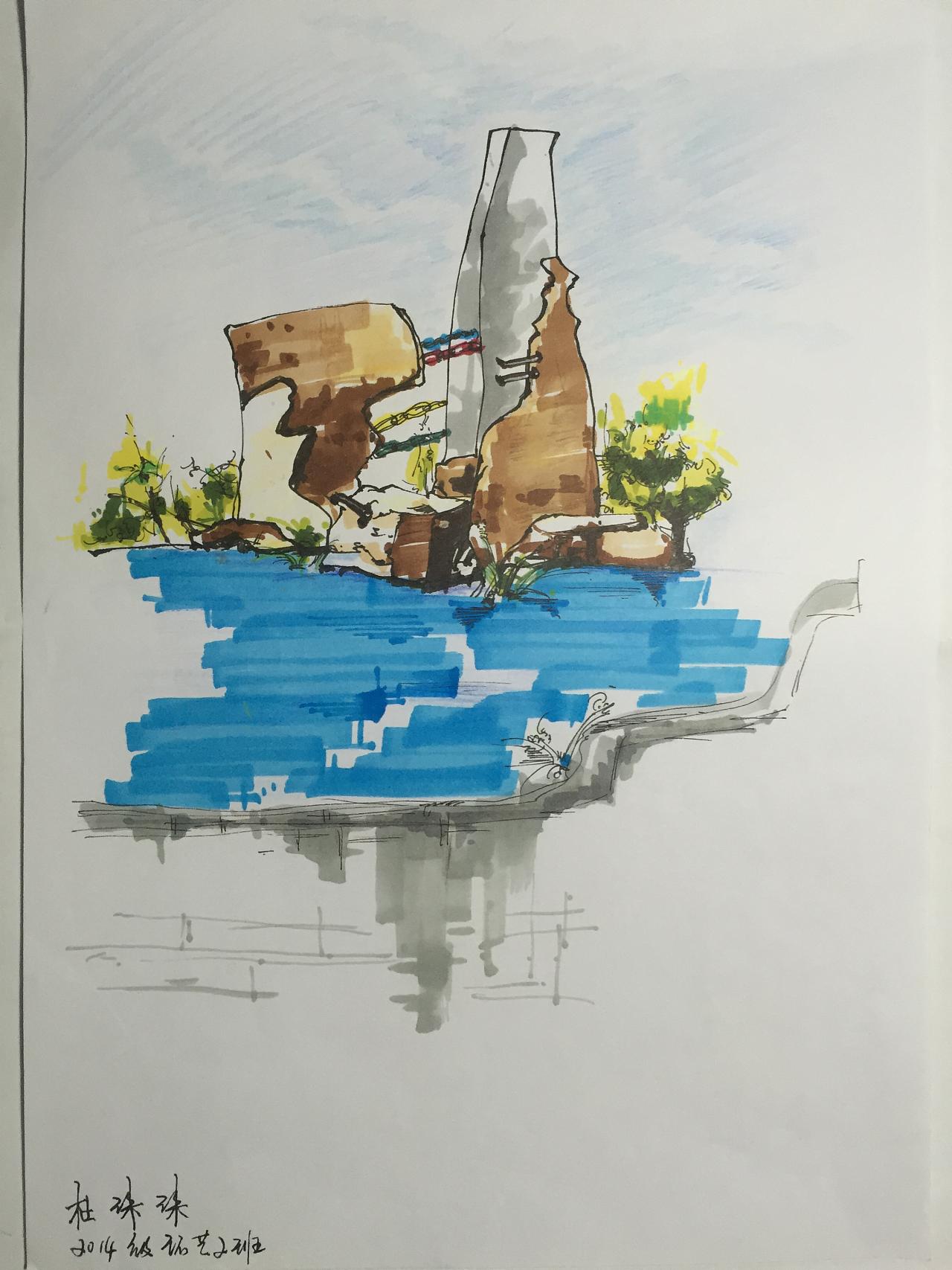 雕塑课手绘写生|空间|景观设计|讹兽 - 原创作品