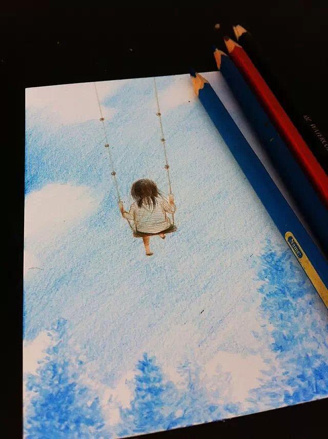 荷兰白卡 彩铅手绘 小清新