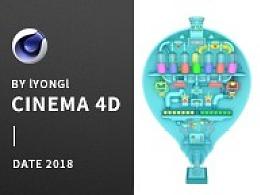C4D、海报、创意、灯泡、3D