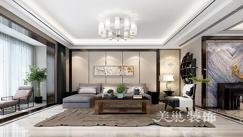 金沙湖高尔夫官邸265平五室两厅新中式装修效果图——沙发背景墙
