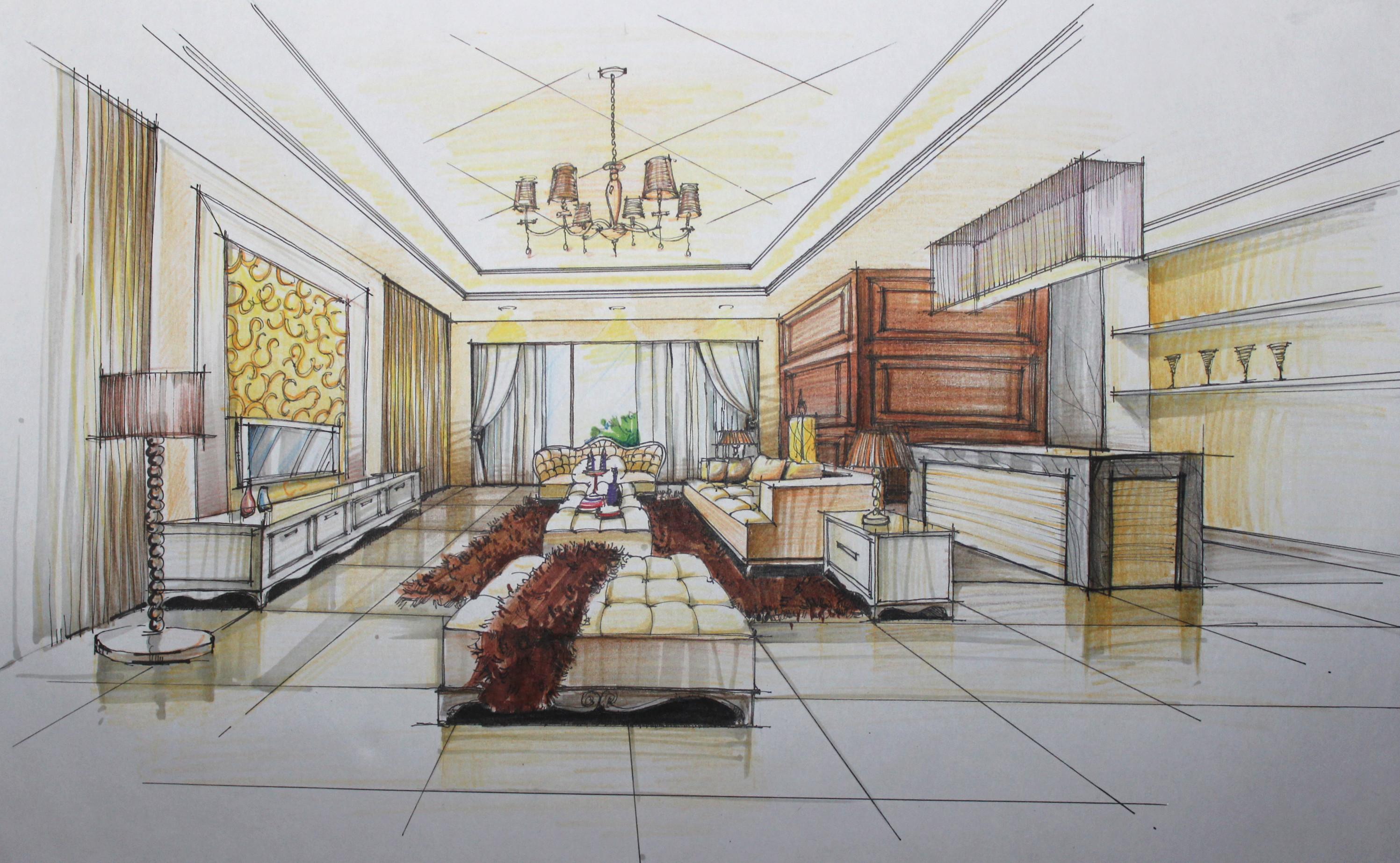 欧式客厅手绘表现草图|空间|室内设计|翁小峰 - 原创