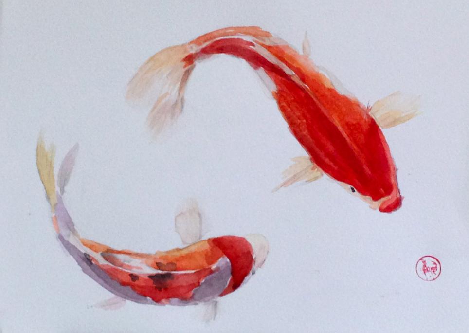 古风手绘红色锦鲤壁纸