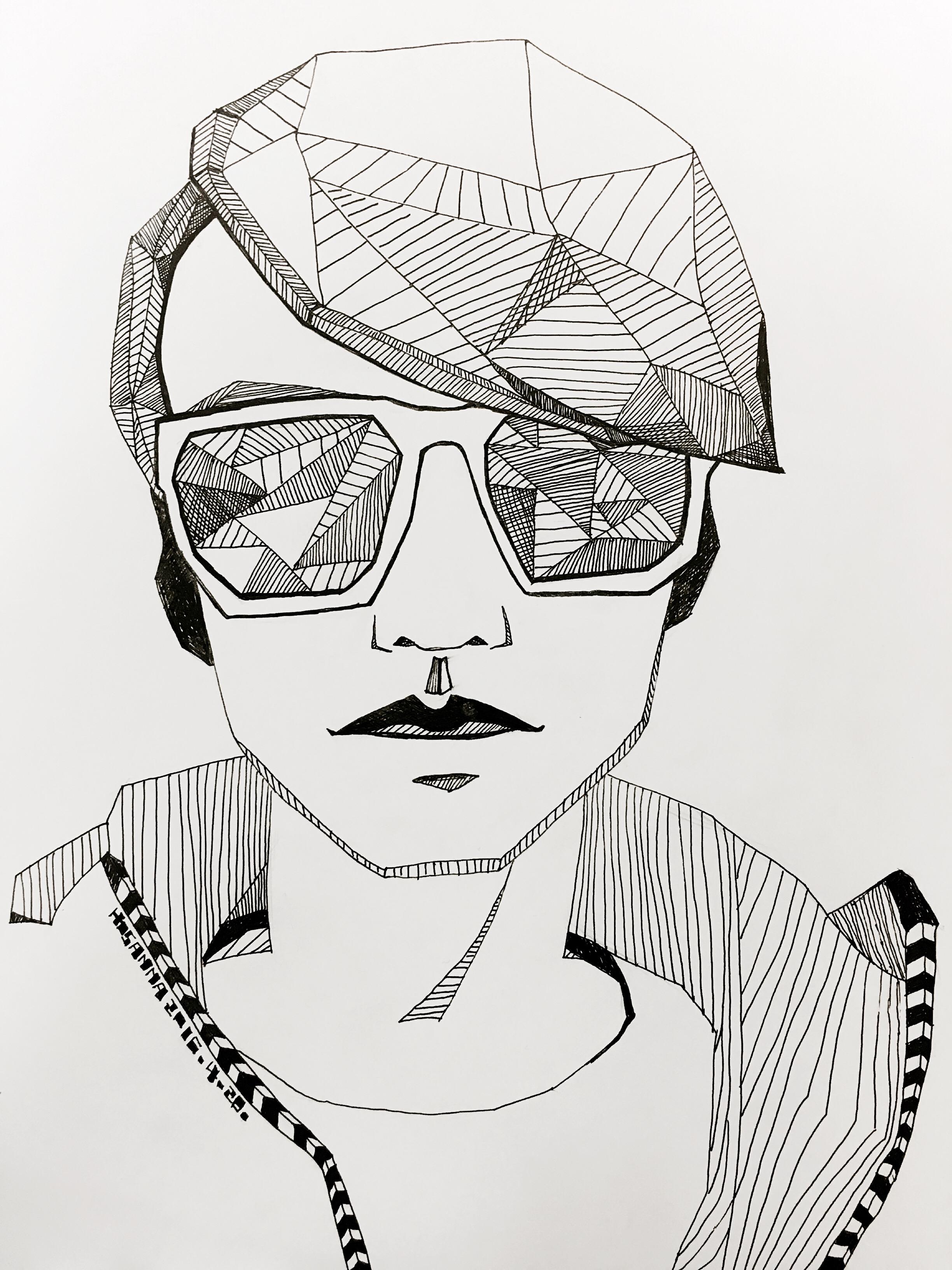 手绘黑白创意线描