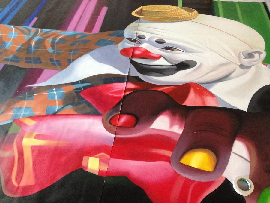 手绘《小丑》3d立体画 墙绘/立体画 其他 广州3d立体