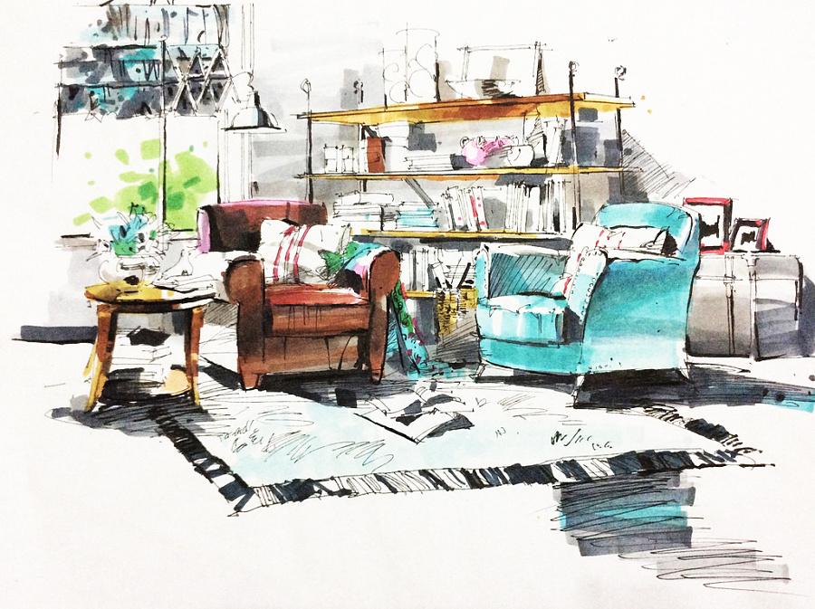 室内马克笔手绘|室内设计|空间/建筑|小辛酱