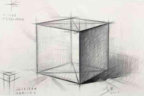 新手怎么画素描正方体|纯艺术|素描|Jok_HeSu