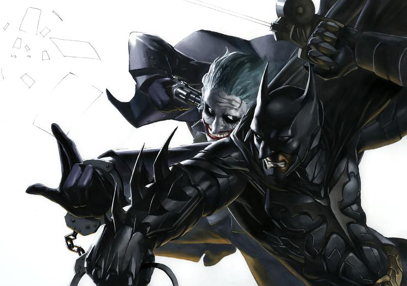 马克笔手绘作品-《蝙蝠侠&小丑》|其他绘画|插画|白