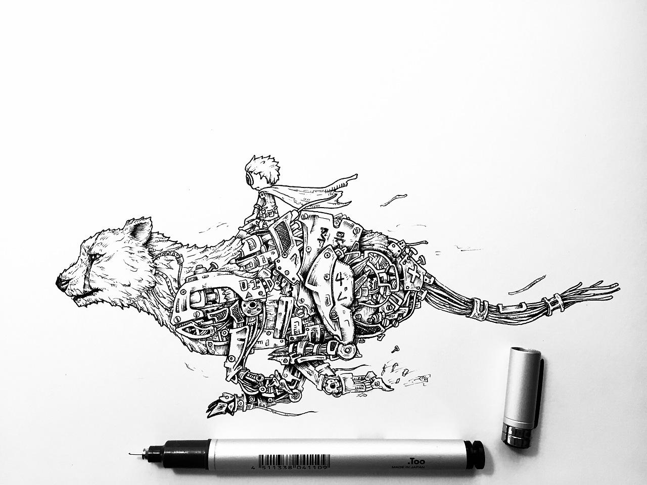 猎豹·机械|插画|插画习作|墨汐moses - 原创作品图片