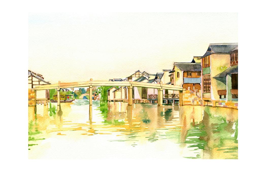 手绘城市系列——《浙江乌镇》