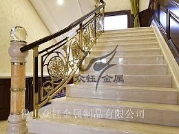 会所大厅镀金铝艺雕花护栏绝对的高大上