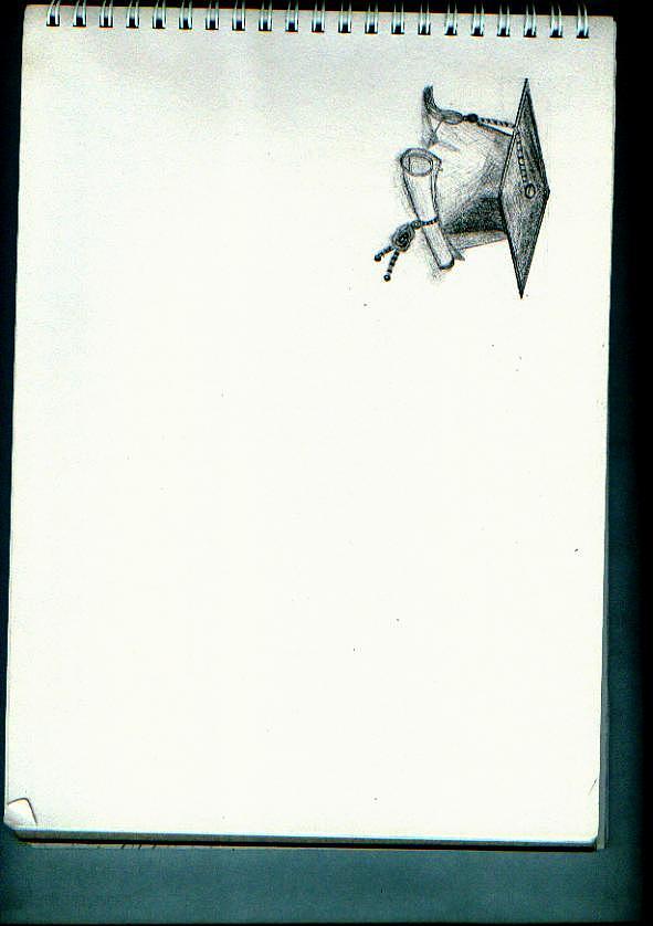 原创作品:学士帽手绘素描