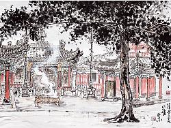 子木画毛泽东转战陕北走过的地方写生作品选