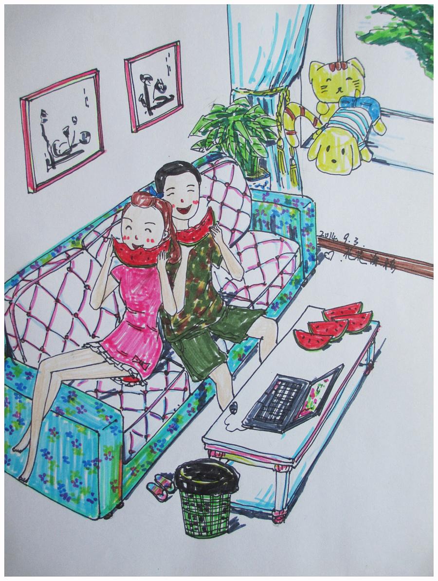 原创手绘情侣系列