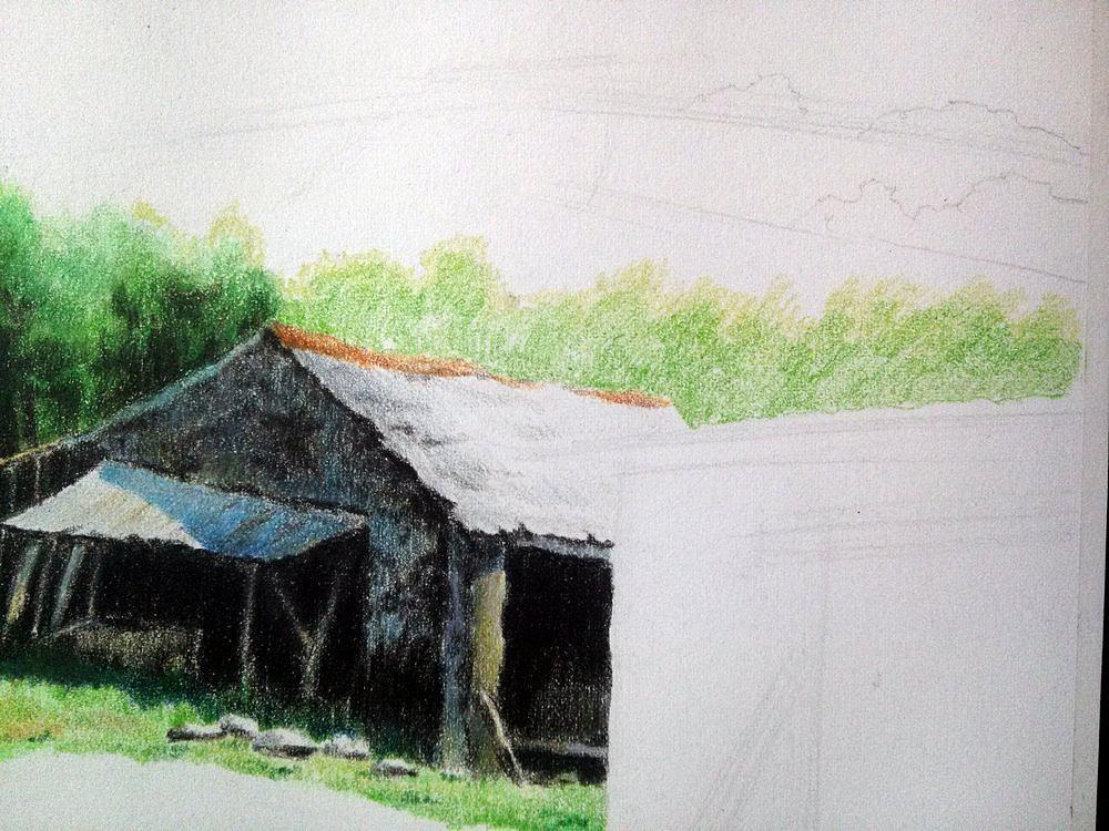 房屋手绘彩铅图
