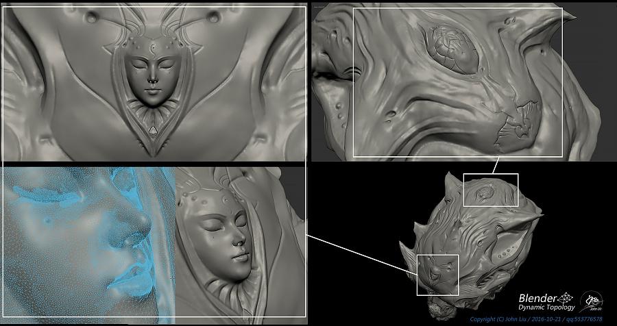 查看《Blender动态雕刻极限测试作品-双生头骨》原图,原图尺寸:2100x1110