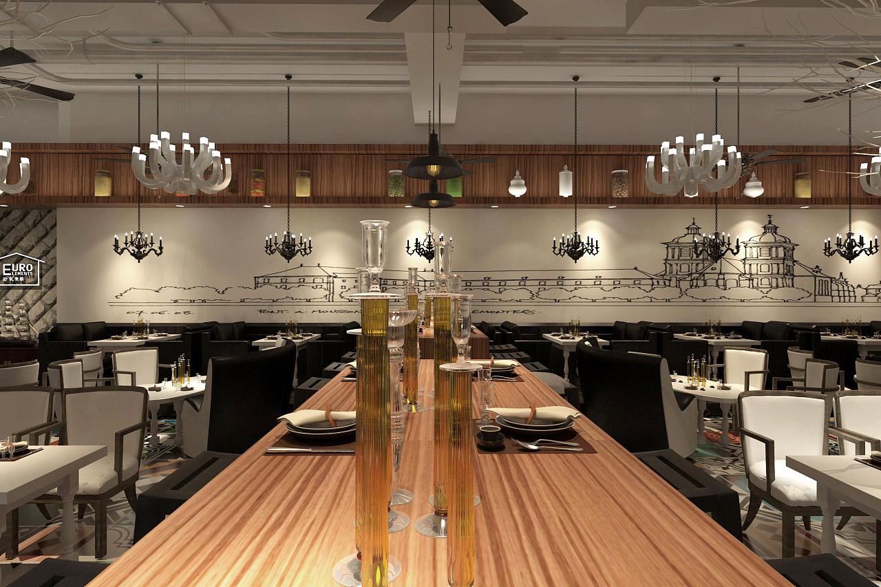 西餐厅 空间 室内设计 小茗站稳别倒了 - 原创作品图片