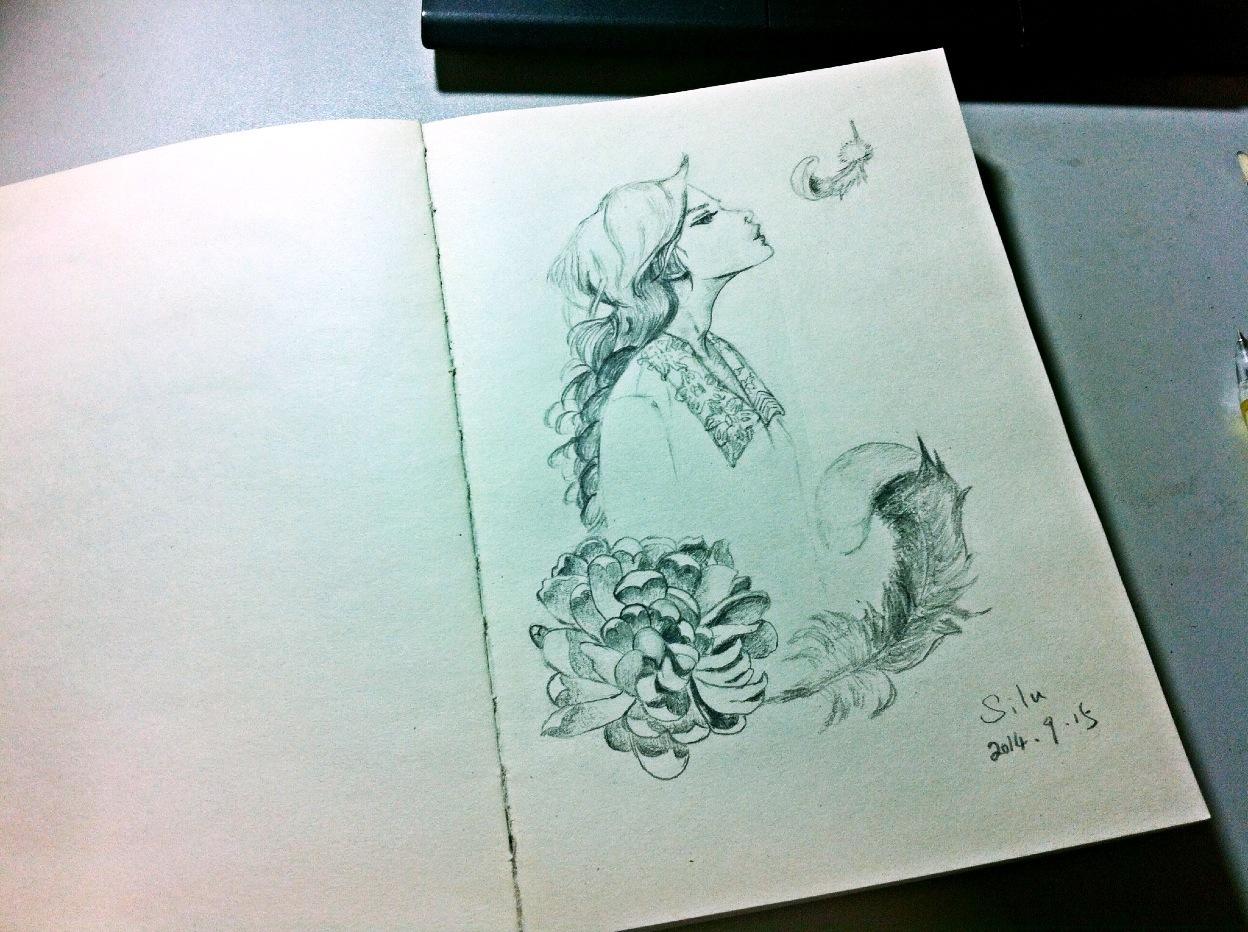 铅笔手绘:吹羽毛的女孩