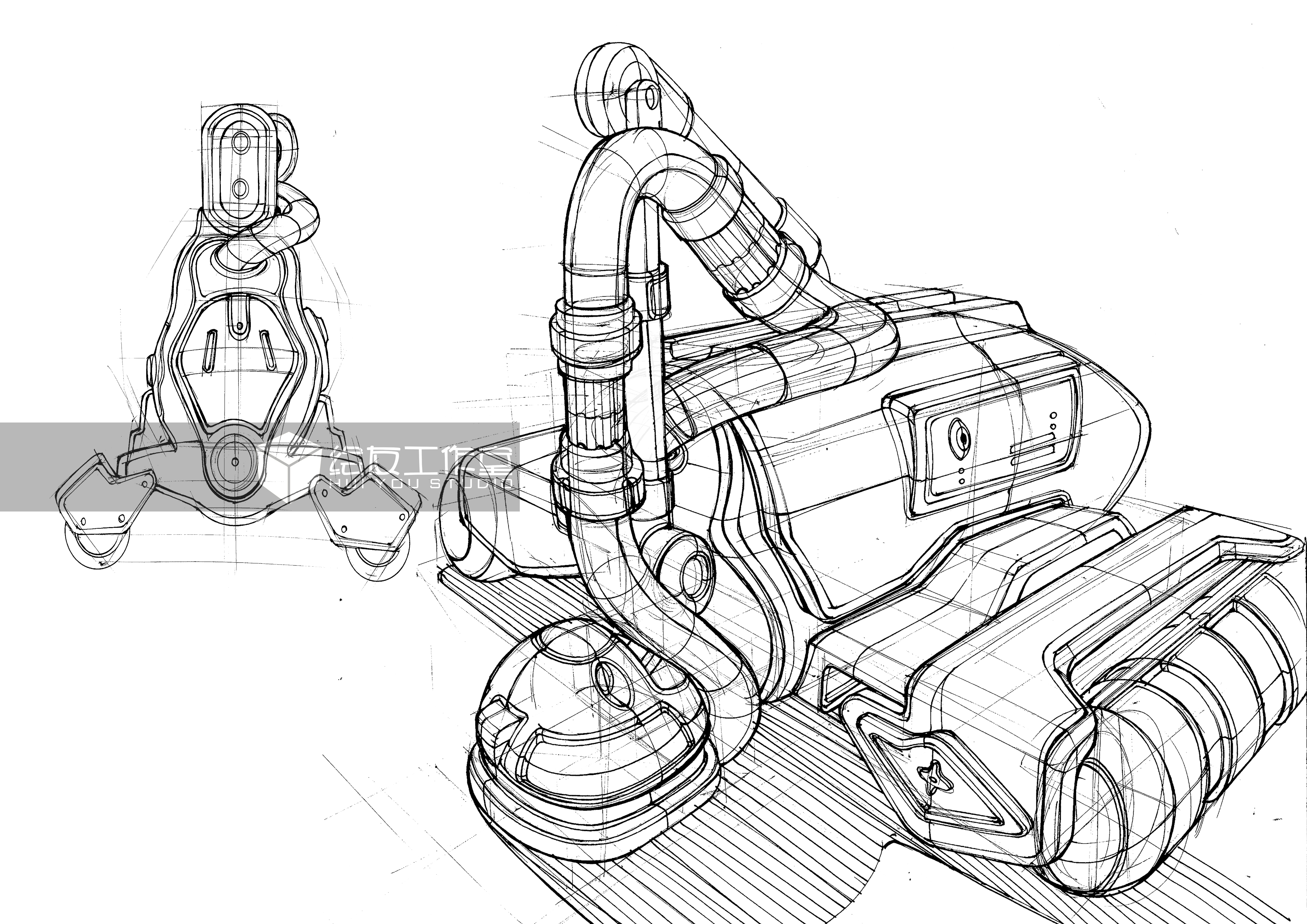 手绘概念水泥车线稿——工业设计产品手绘