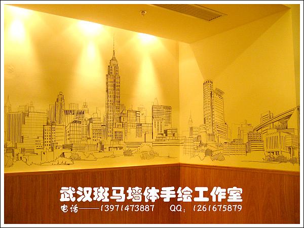单色手绘场景类室内设计手绘墙画,墙体手绘,墙绘作品之全景美国
