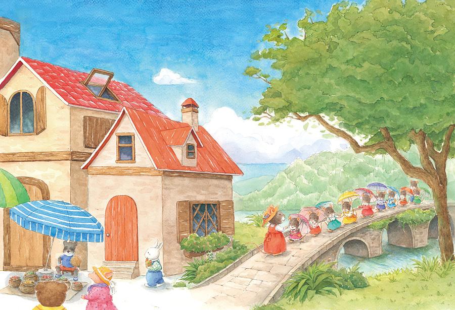 手绘儿童绘本《花伞里的小小鼠》