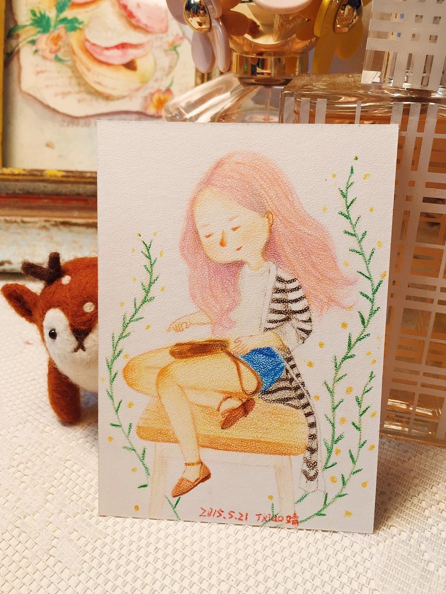 手绘彩铅小人物系列插画31|商业插画|插画|丁小婧