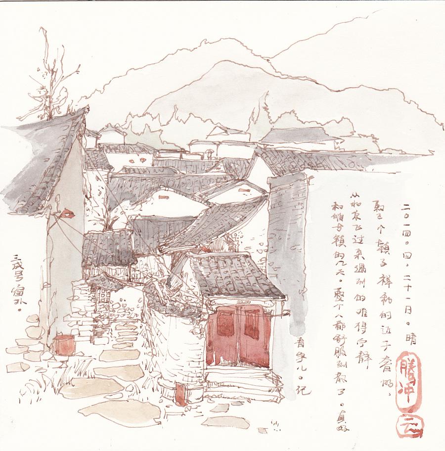 云南古镇黑白手绘