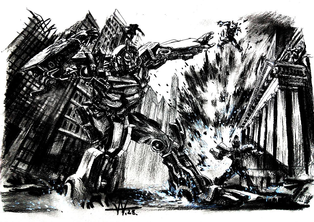 李万海手绘变形金刚擎天柱,大黄蜂!用钢笔加炭笔两种工具手绘