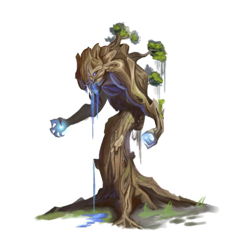 手绘作品———《魔怪树》|游戏原画|插画|wyldj