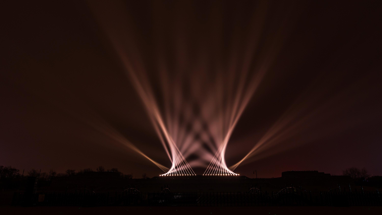 西安大明宮遺址公園燈光秀圖片
