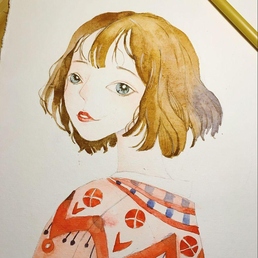 水彩手绘练习|临摹度薇年插画作品