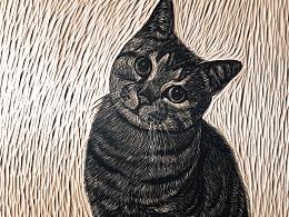 手工雕刻猫咪黑白木刻版画