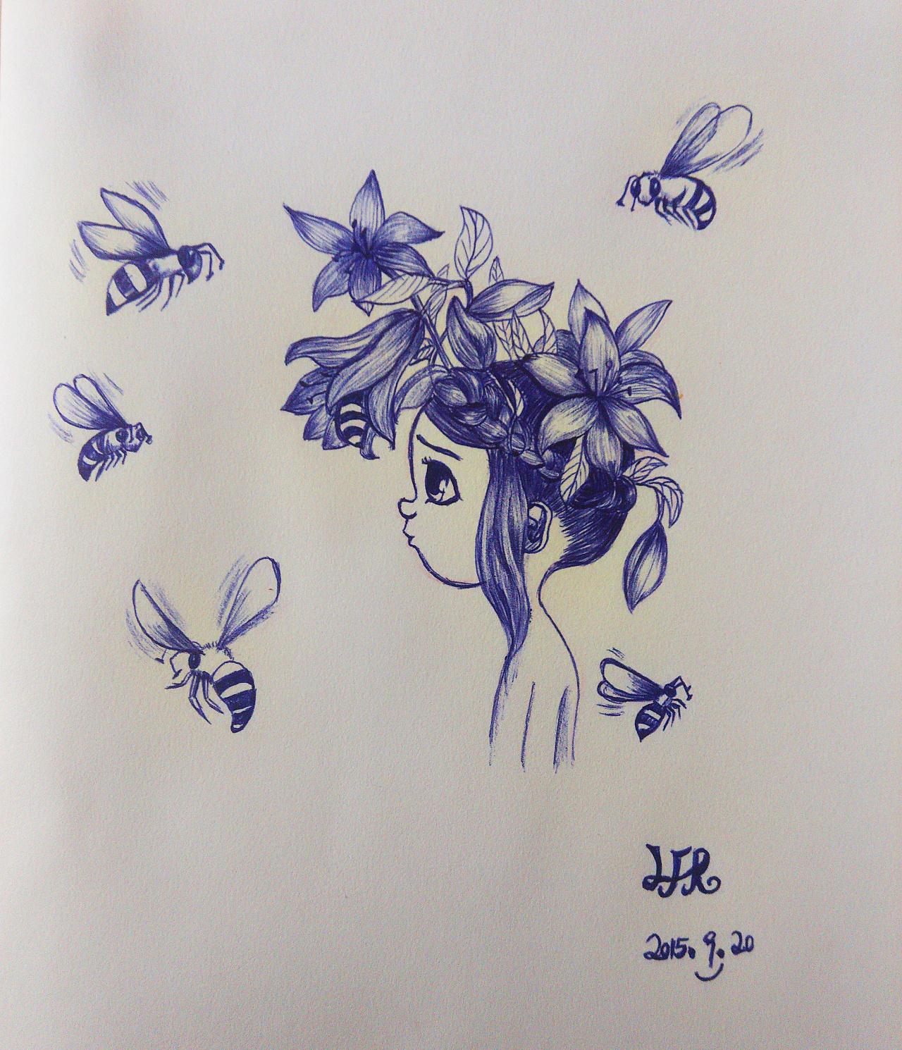 周末圆珠笔手绘临摹|插画|插画习作|风铃在思考