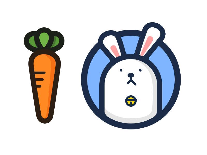 小兔子和胡萝卜|儿童插画|插画|dayazhao