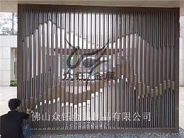 售楼部入口不锈钢山峦背景墙屏风 连绵起伏立体感十足