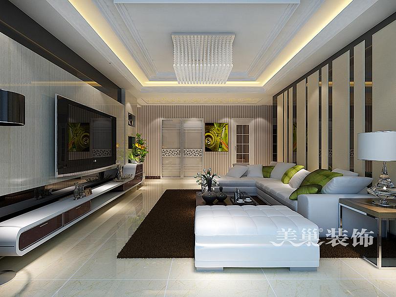 中力湾公馆装修效果图130平三室两厅现代风格设计方案---客厅全景