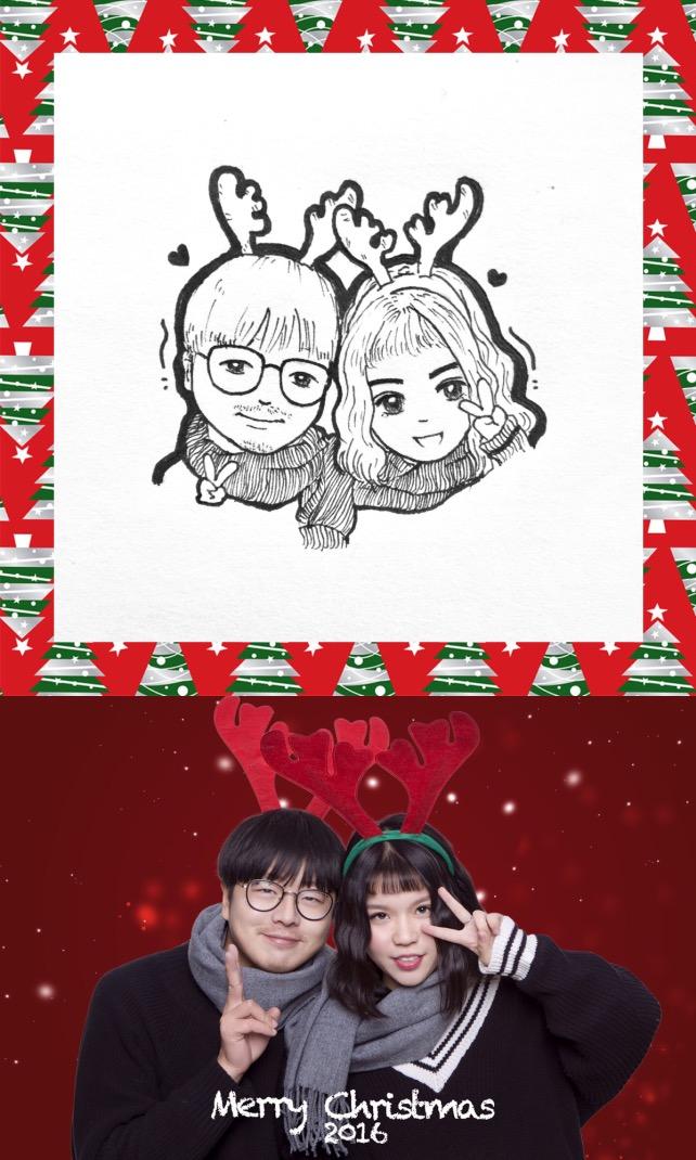 手绘头像圣诞节的小情侣|图案|平面|但你只想听听笑话