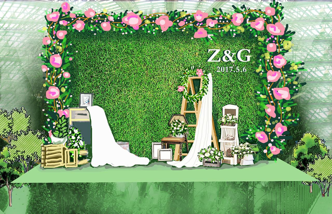 婚礼场景手绘
