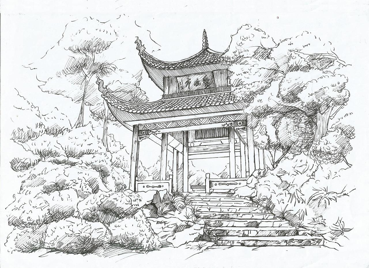 爱晚亭|纯艺术|钢笔画|南莲 - 原创作品 - 站酷